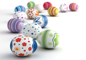 Multi color painted esater eggs (computer generated image)